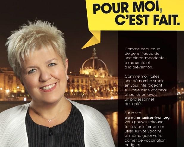 Une campagne pour la vaccination avec Mimie Mathy à Lyon