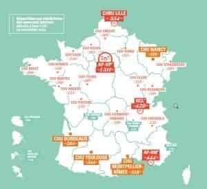 La carte de France des affectation des internes
