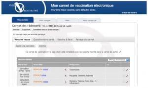 Le carnet de vaccination sur le web