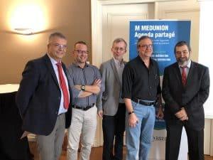 Pierre-Jean Ternamian, président de l'URPS médecins libéraux d'Aura entouré de ses élus