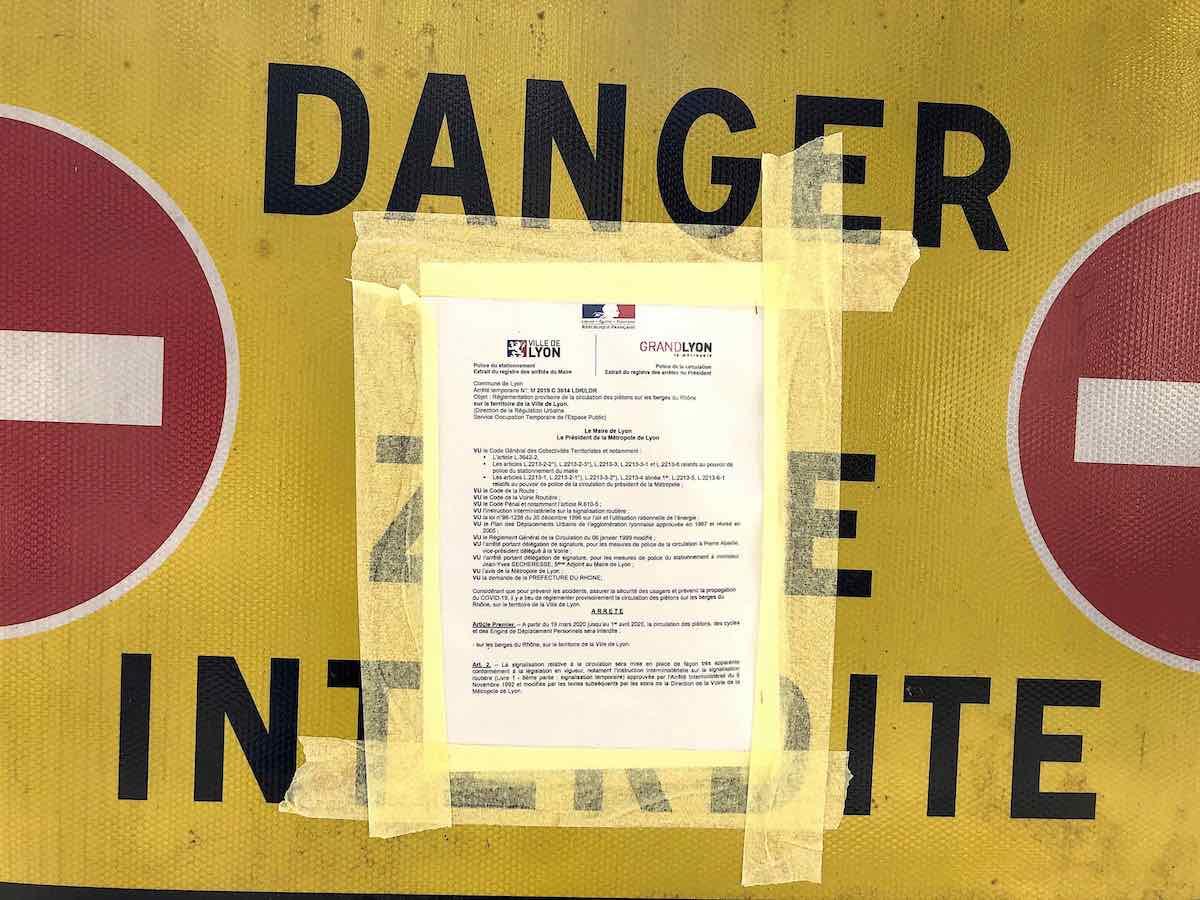 avis municipal fermeture des berges du Rhône à Lyon