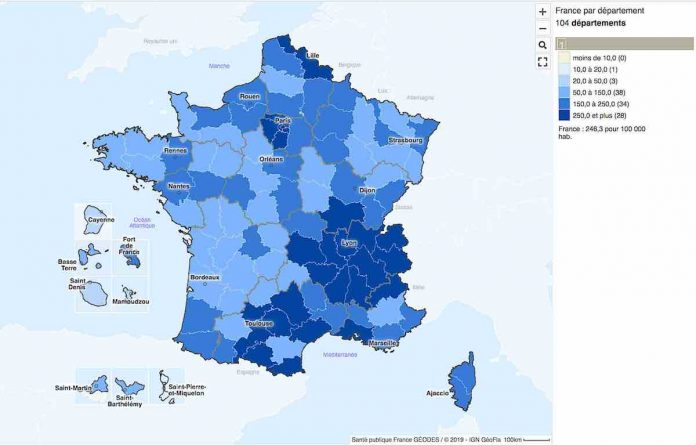 coronavirus taux incidence en France