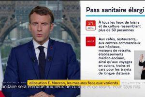 Emmanuel Macron décrit l'élargissement du pass sanitaire.
